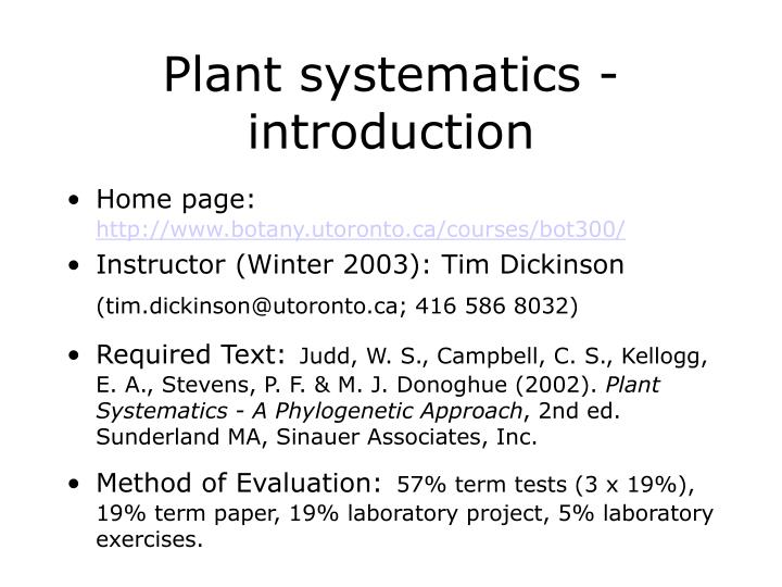 plant systematics introduction n.