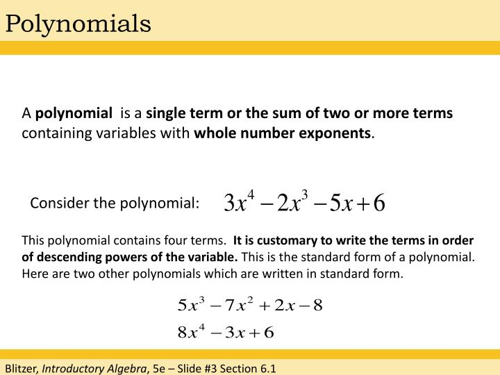 Ppt Chapter 6 Exponents And Polynomials Powerpoint Presentation