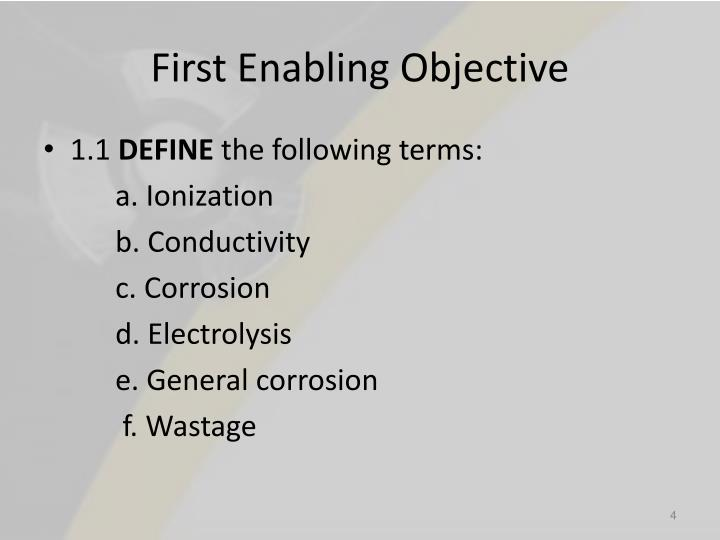 First Enabling Objective