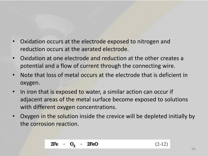 Oxidation occurs at the electrode exposed to nitrogen and reduction occurs at the aerated electrode.