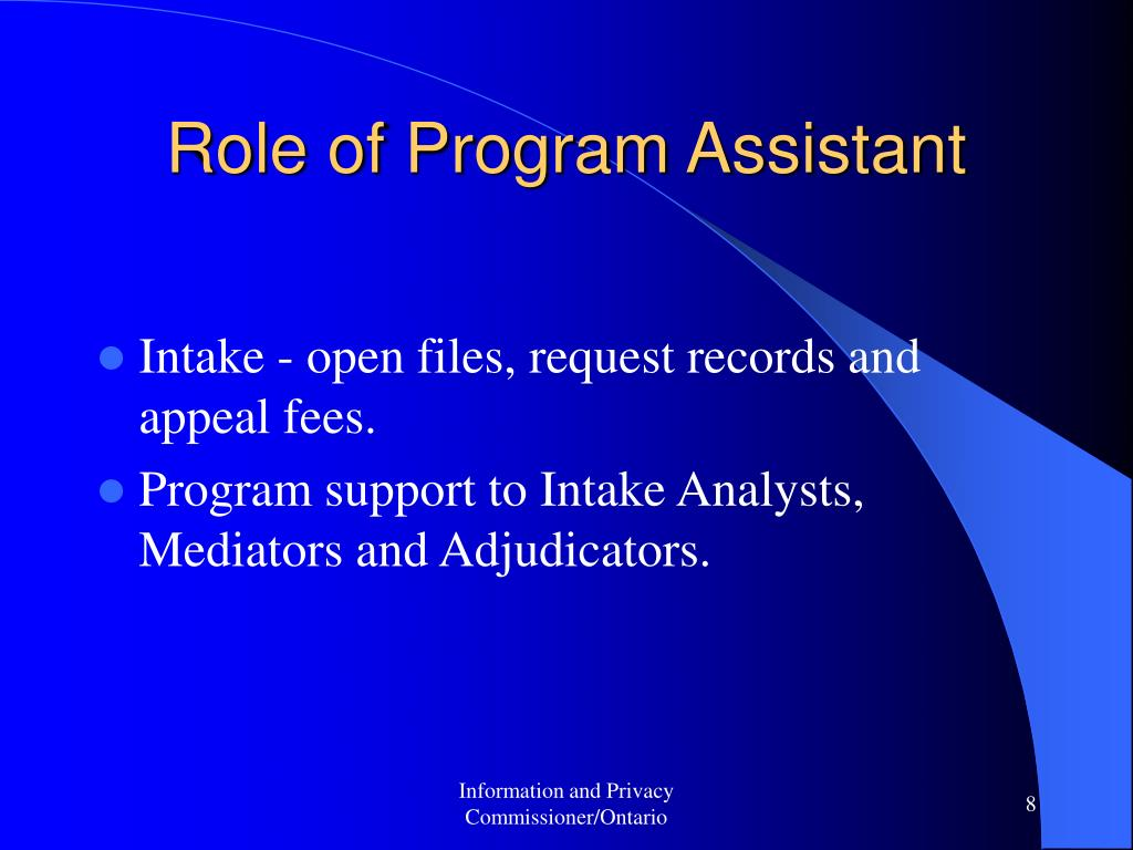 Role of Program Assistant