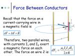 force between conductors
