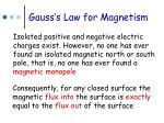gauss s law for magnetism
