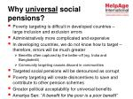why universal social pensions