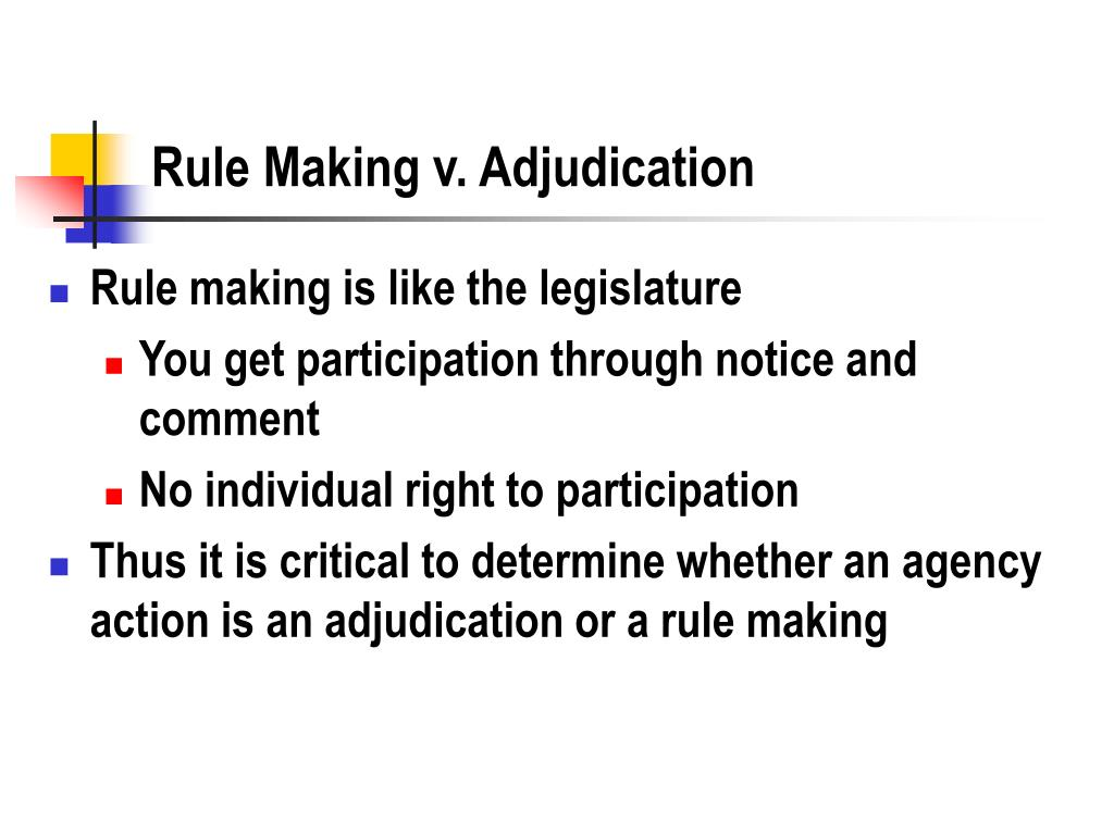 rule making v adjudication l.