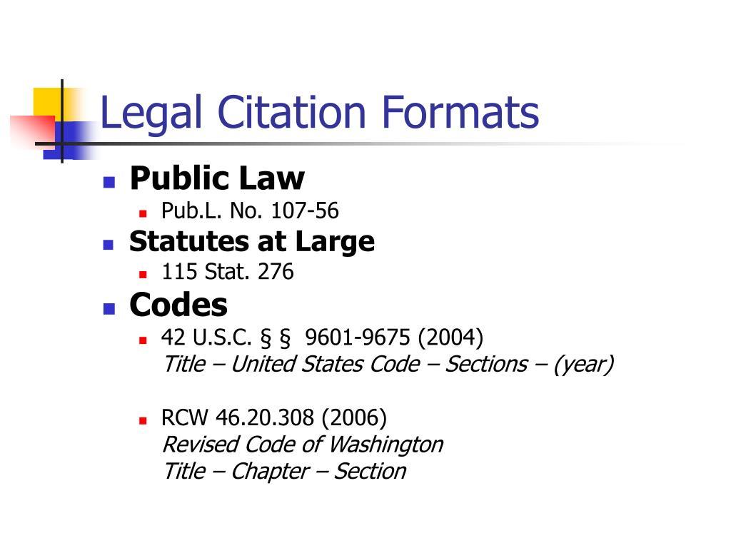 Legal Citation Formats