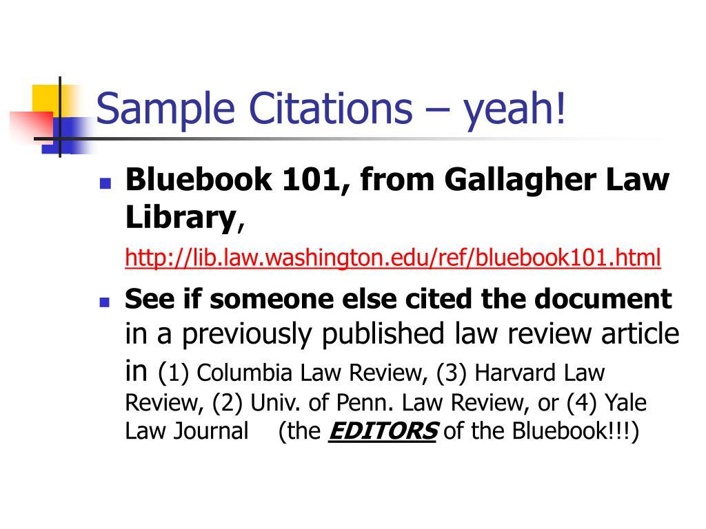 Sample Citations – yeah!