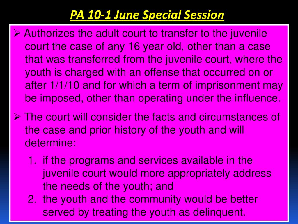 PA 10-1 June Special Session