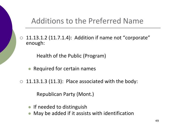 Additions to the Preferred Name