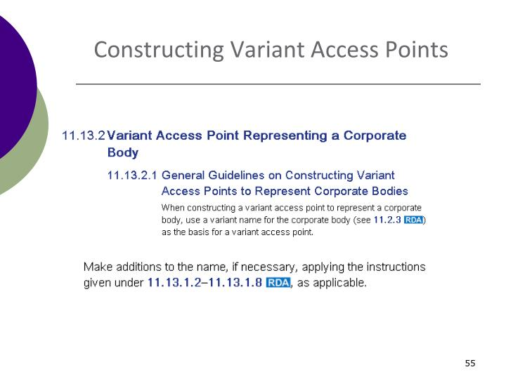 Constructing Variant Access Points