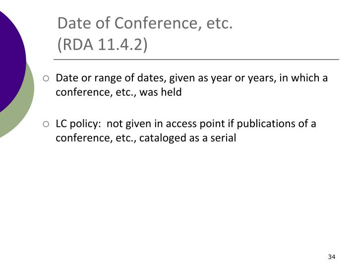 Date of Conference, etc.
