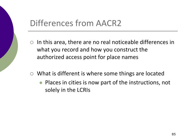 Differences from AACR2