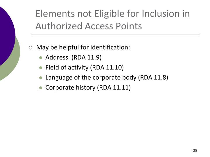 Elements not Eligible for Inclusion in Authorized Access Points