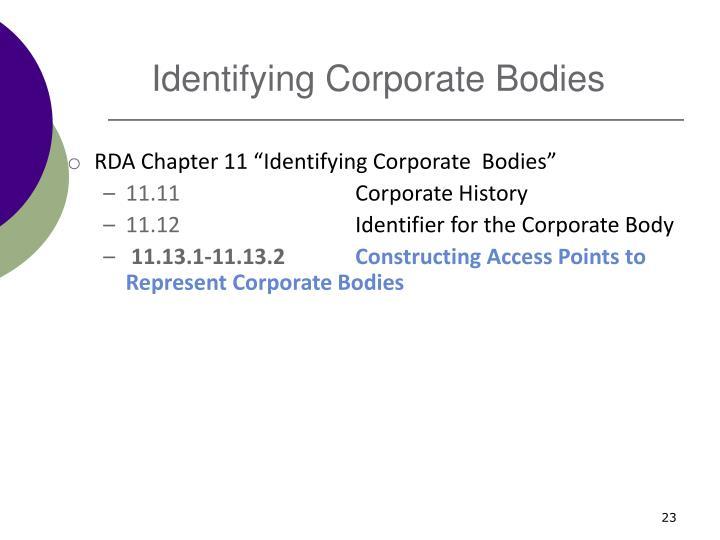 Identifying Corporate Bodies