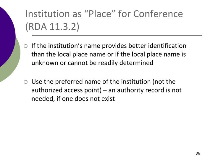 """Institution as """"Place"""" for Conference"""
