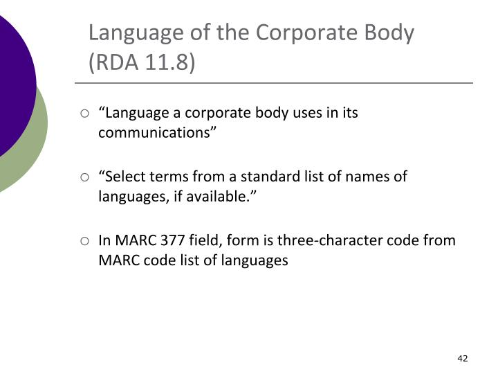 Language of the Corporate Body