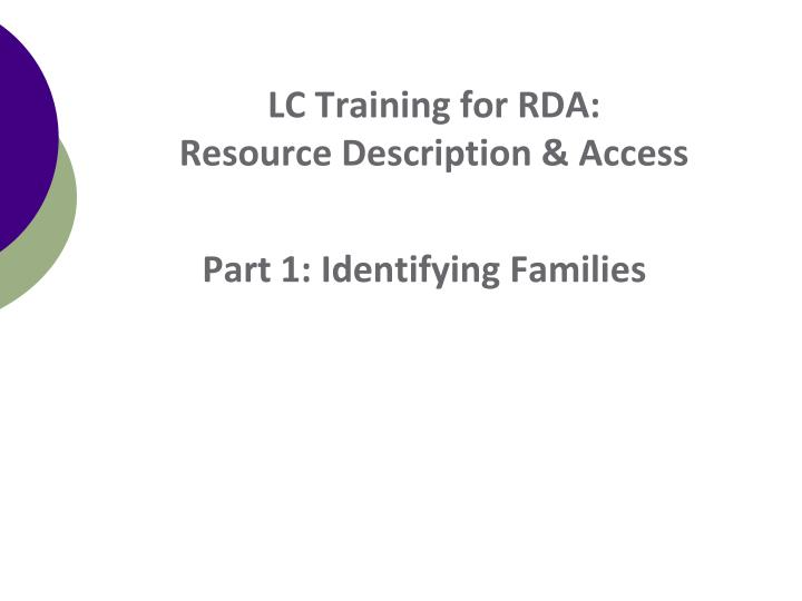 Lc training for rda resource description access1