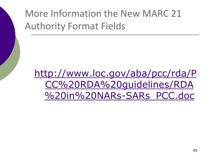 More Information the New MARC 21 Authority Format Fields
