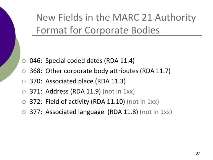 New Fields in the MARC 21 Authority Format for Corporate Bodies
