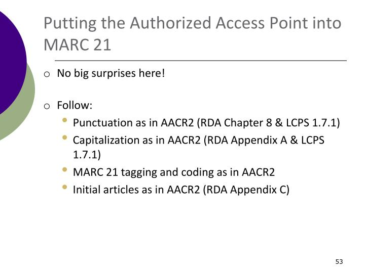 Putting the Authorized Access Point into MARC 21
