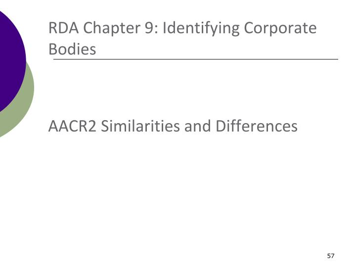 RDA Chapter 9: Identifying Corporate Bodies