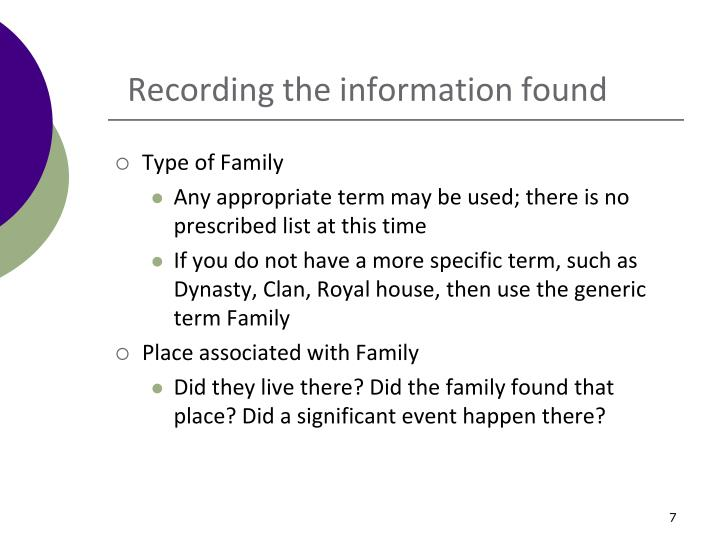 Recording the information found