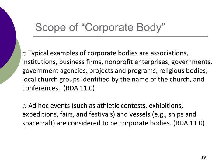 "Scope of ""Corporate Body"""