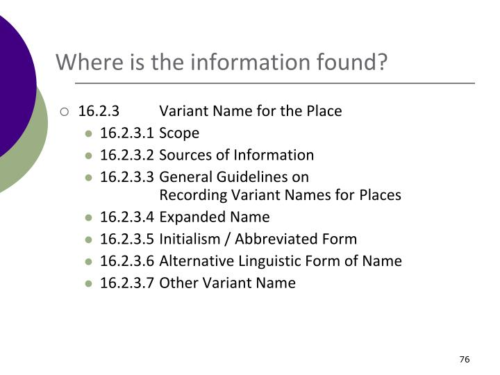 Where is the information found?
