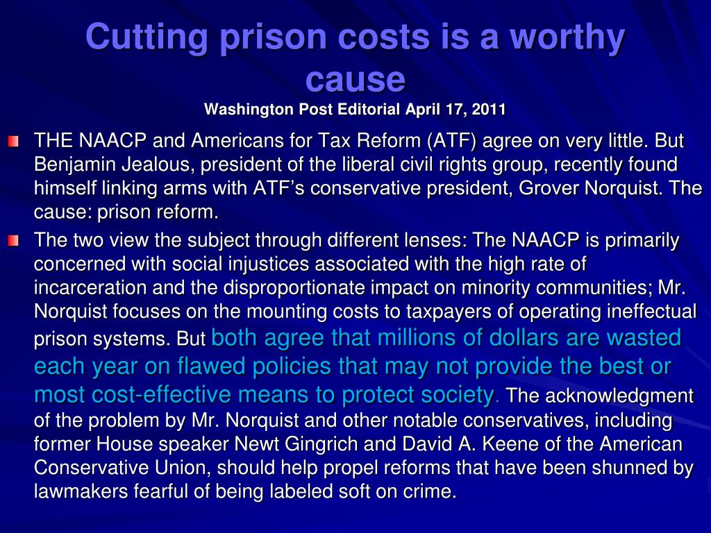 Cutting prison costs is a worthy cause