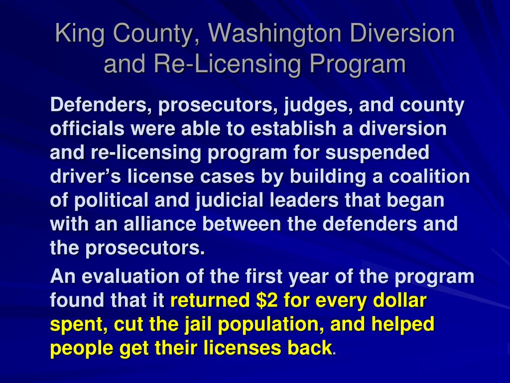 King County, Washington Diversion and Re-Licensing Program