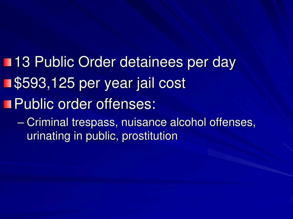 13 Public Order detainees per day