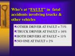 who s at fault in fatal accidents involving trucks other vehicles