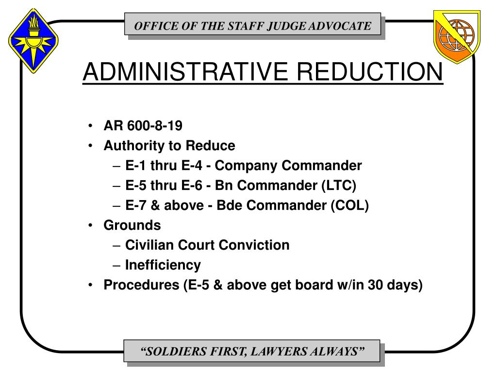 ADMINISTRATIVE REDUCTION