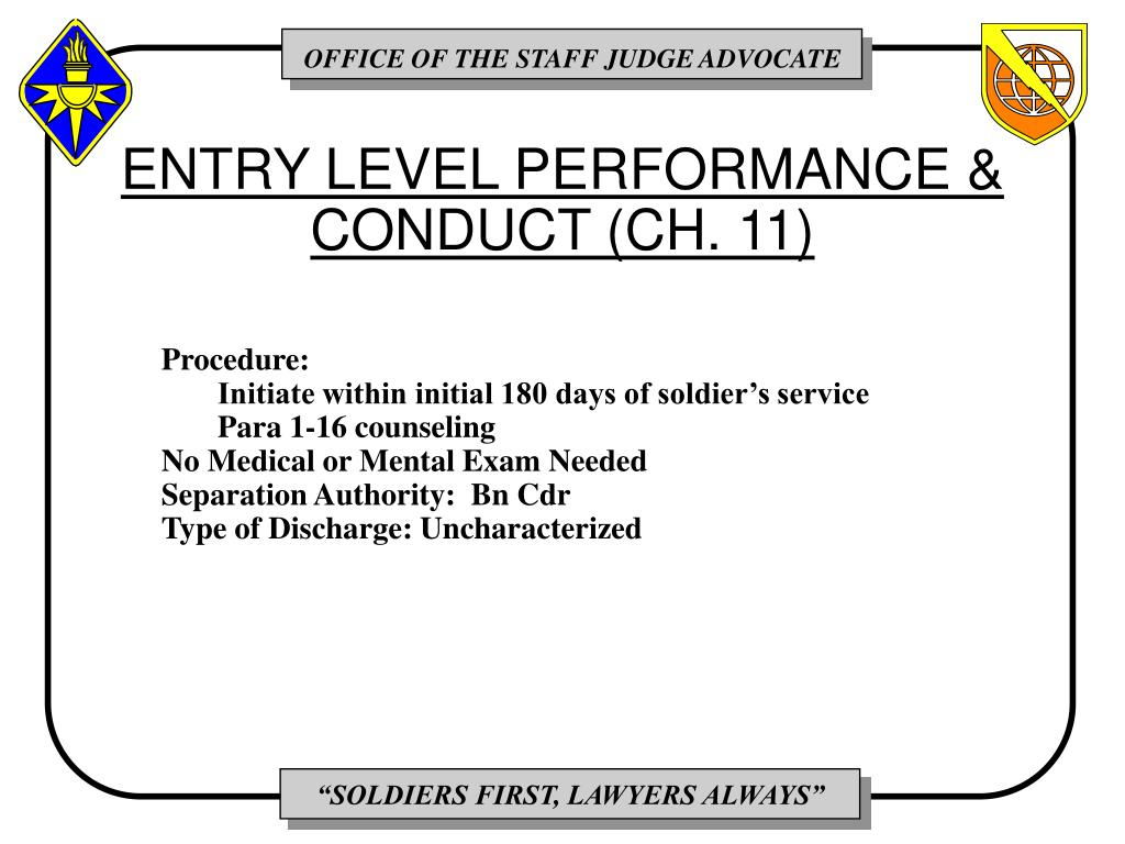 ENTRY LEVEL PERFORMANCE & CONDUCT (CH. 11)