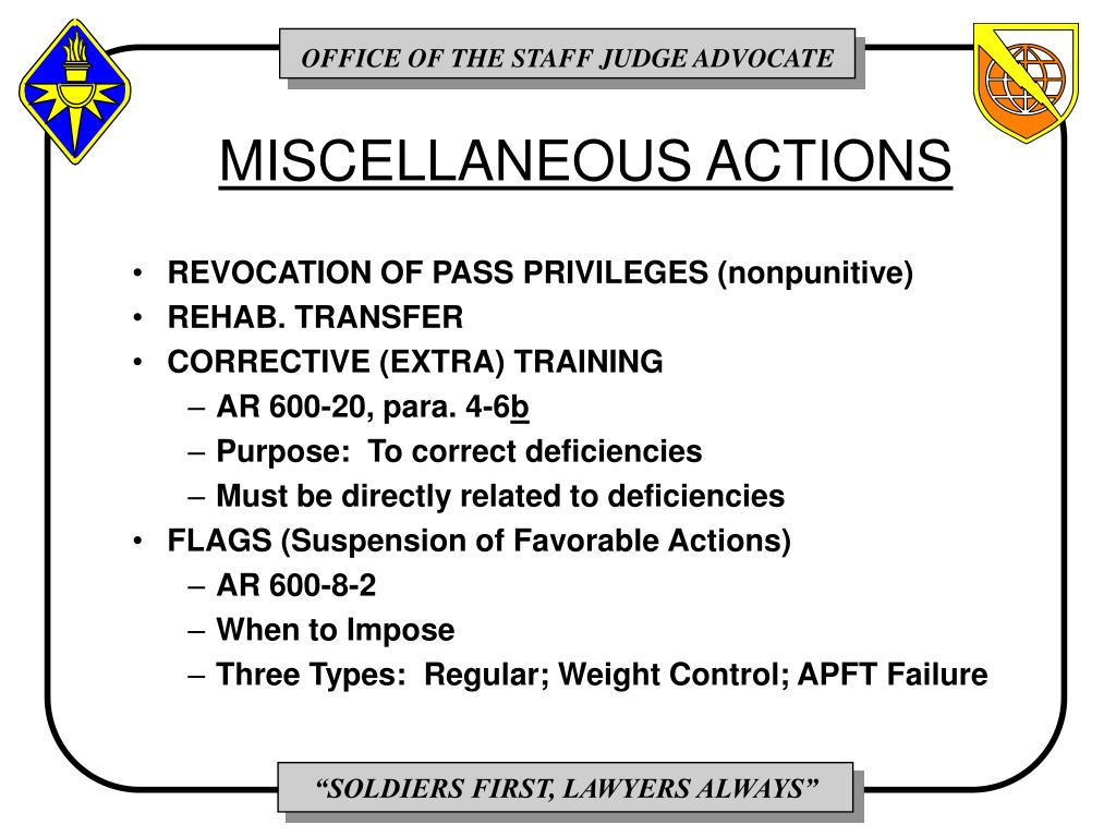 MISCELLANEOUS ACTIONS