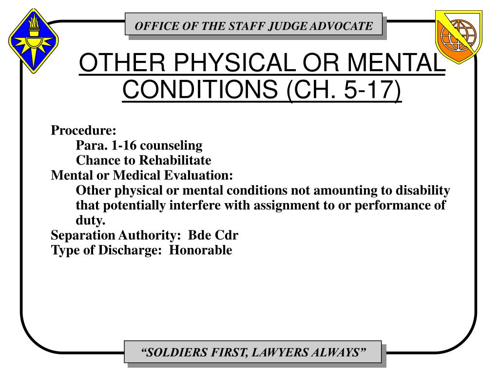 OTHER PHYSICAL OR MENTAL CONDITIONS (CH. 5-17)
