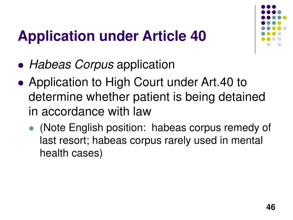 Application under Article 40