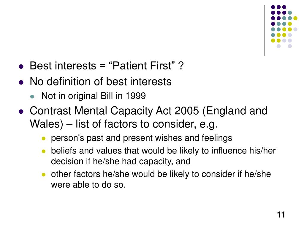 "Best interests = ""Patient First"" ?"