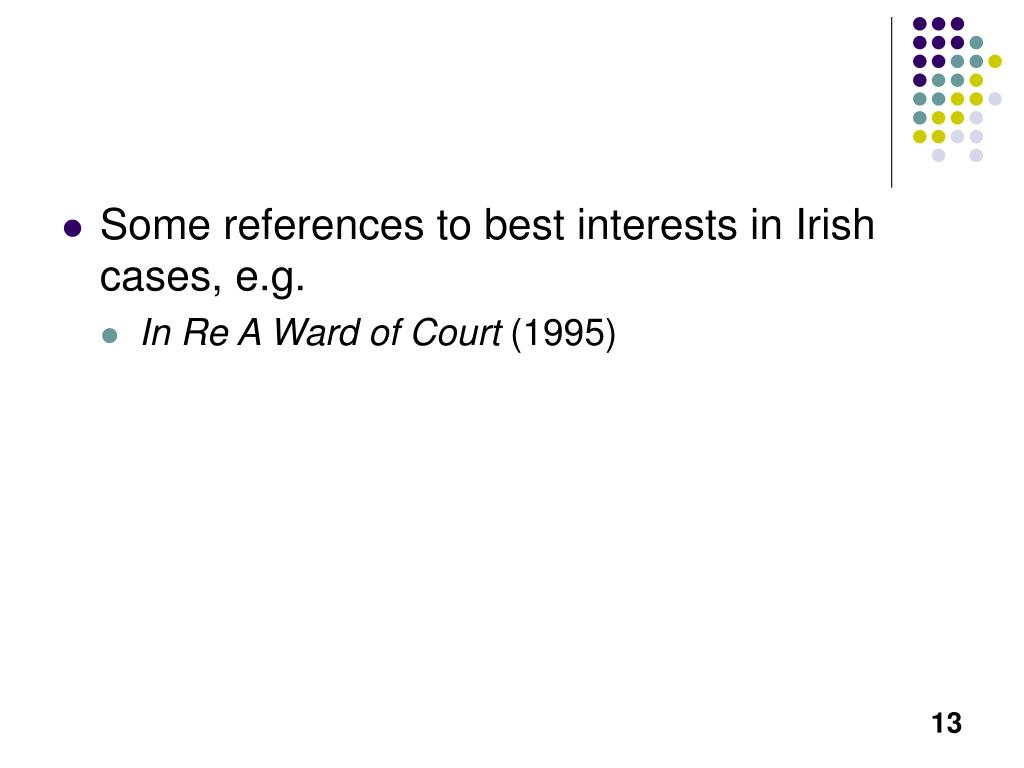 Some references to best interests in Irish cases, e.g.