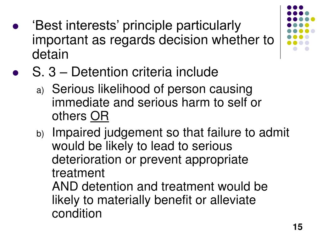 'Best interests' principle particularly important as regards decision whether to detain