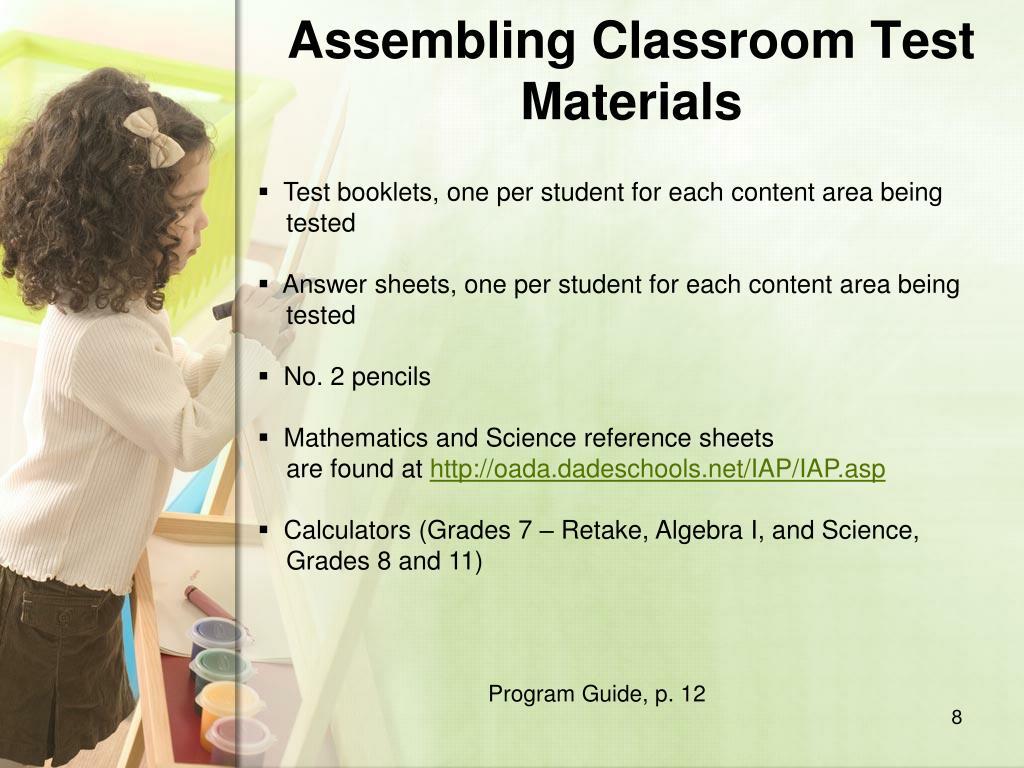 Assembling Classroom Test Materials