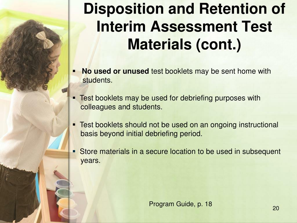 Disposition and Retention of Interim Assessment Test Materials (cont.)
