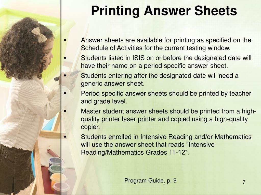 Printing Answer Sheets