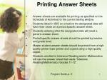 printing answer sheets