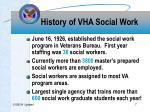history of vha social work