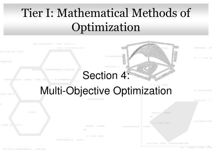 Tier i mathematical methods of optimization