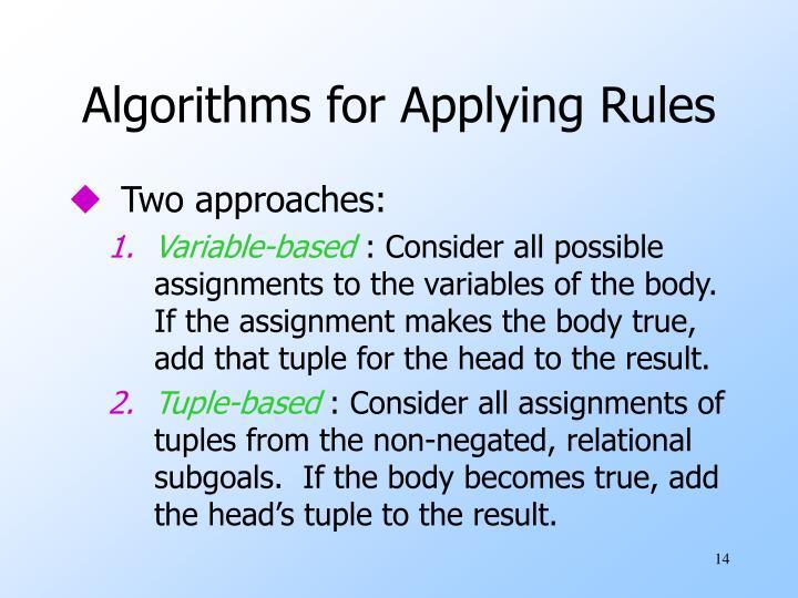 Algorithms for Applying Rules