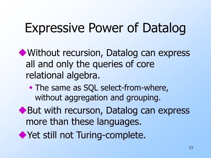 Expressive Power of Datalog