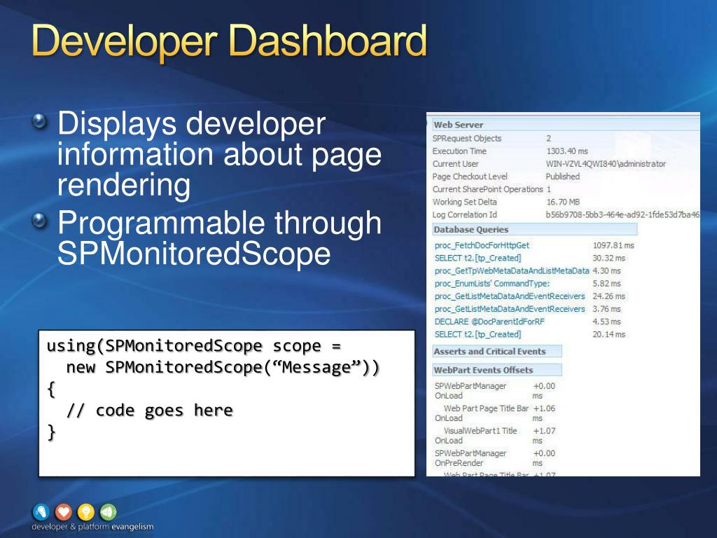 Developer Dashboard