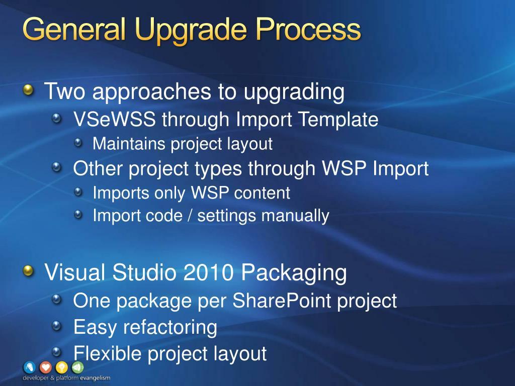 General Upgrade Process